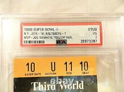 1969 Super Bowl 111 Baltimore Colts vs New York Jets ticket stubs