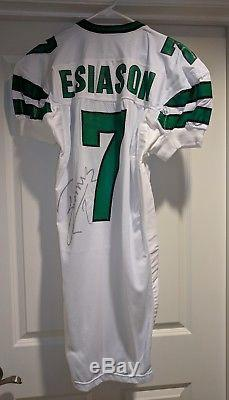 1992 1993 Boomer Esiason team game issued New York Jets away jersey. Signed