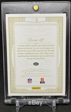 2014 Panini Flawless Greats Ronnie Lott Game Used Worn Jersey Patch Auto /15