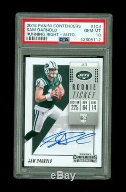 2018 Contenders Sam Darnold RC AUTO Running Right Variation PSA 10 Rookie # /225