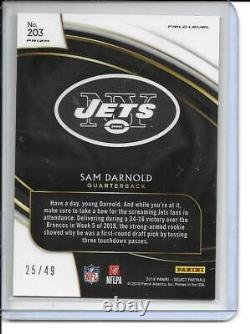 2018 Panini Select Field Level Red Prizm Sam Darnold Rookie Card RC /49 #203