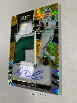 2018 Panini Select Sam Darnold Rookie Patch Auto Gold Prizm 09/10 Jets RPA
