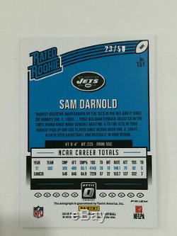 2018 Sam Darnold Optic Auto Autograph RC Rookie Red #23/50 Centered