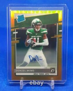 2020 Donruss Optic Rated Rookie RC Auto Gold Denzel Mims 02/10 Jets SSP
