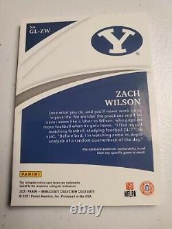 2021Immaculate Zach Wilson RC Patch GLOVES! #D 21/40 NY Jets Rare
