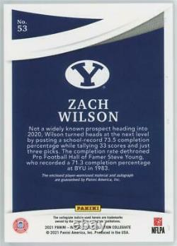 2021 Panini Immaculate Collegiate Zach Wilson RPA /49 Rookie Patch Auto RC Jets