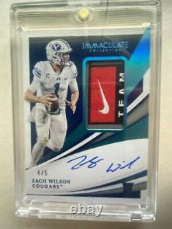 2021 Panini Immaculate ZACH WILSON #D 4/5 Nike Laundry Tag RC Patch Auto Jets QB