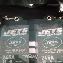 2 New York Jets Season Tickets withParking passes Sect. 245A Row 15 Seats 8 &9