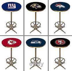 Choose Your NFL Team 40 x 27 Round Chrome Base Pub Bar Table by Imperial
