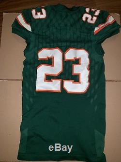 Miami Hurricanes Chris Herndon Game Used #23 Green Adidas Jersey New York Jets