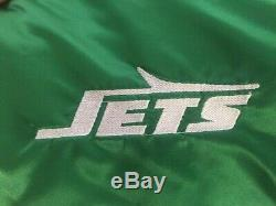 New York Jets Vintage Throwback Green Satin Jacket XL