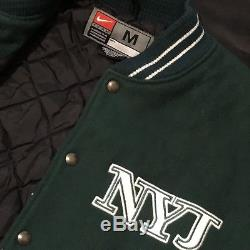 Nike New York Jets Varsity Jacket Wool With Leather Sleeves Vintage Rare Spell Out