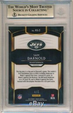 Sam Darnold 2018 Panini Select Rc Rookie Selections Green #4/5 Bgs 9.5 Gem Mint